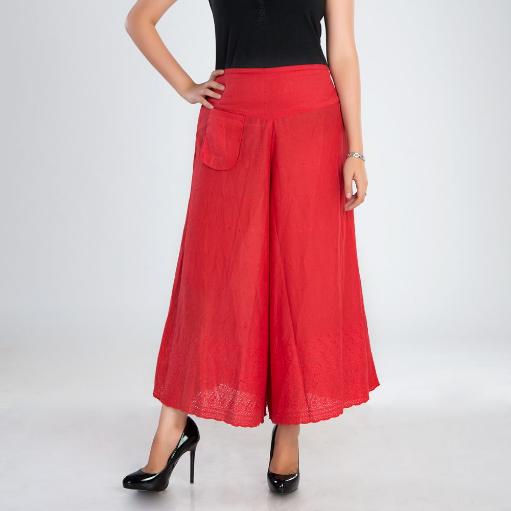 Red Cutwork Cotton Palazzo Pants