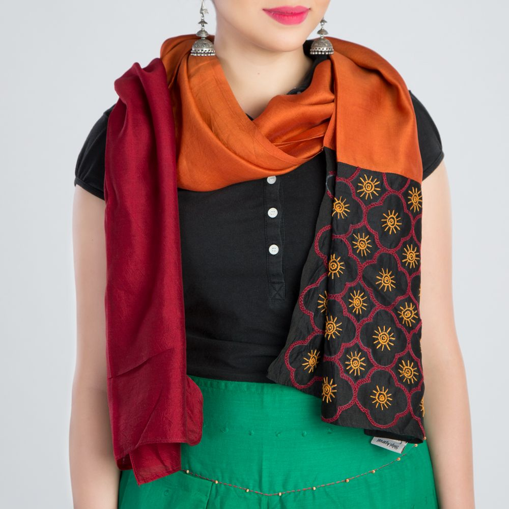Red Orange Embroidered Silk Stole