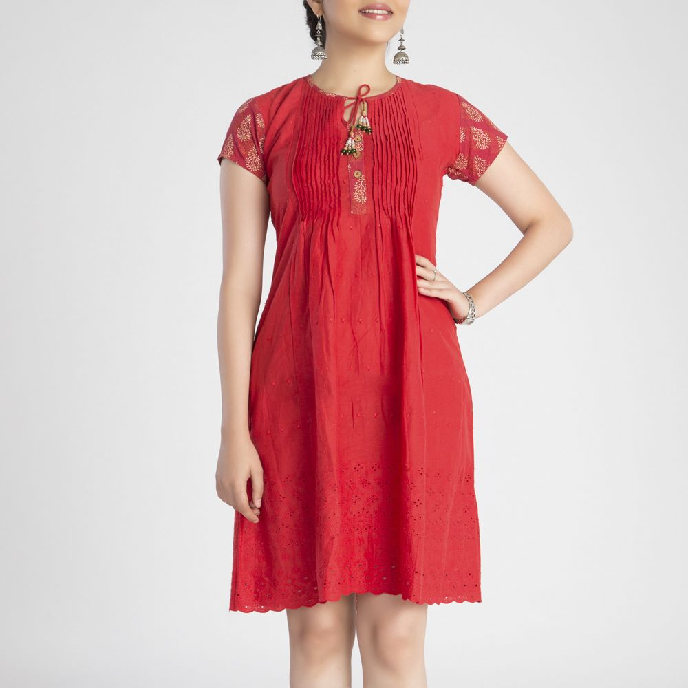 Red Pintuck Cotton Dress