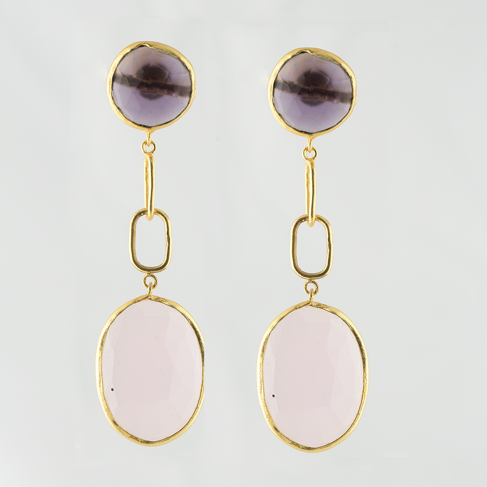 Rose Quartz Brass Earrings