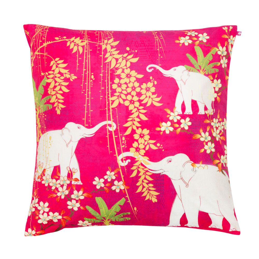 Scarlet Tusk Poly Velvet Floor Cushion Cover