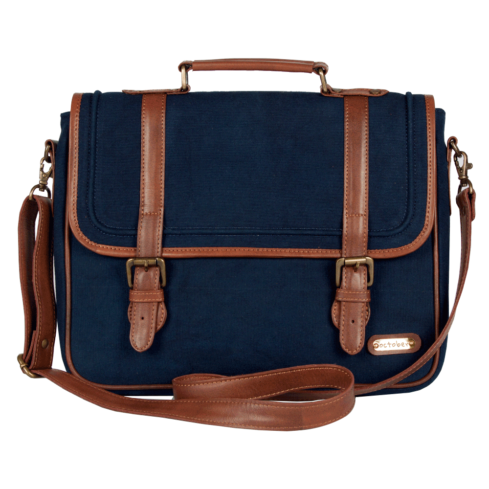 Solid blue leather bag