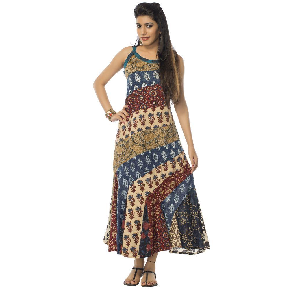 Spring Blue Patchwork Dress