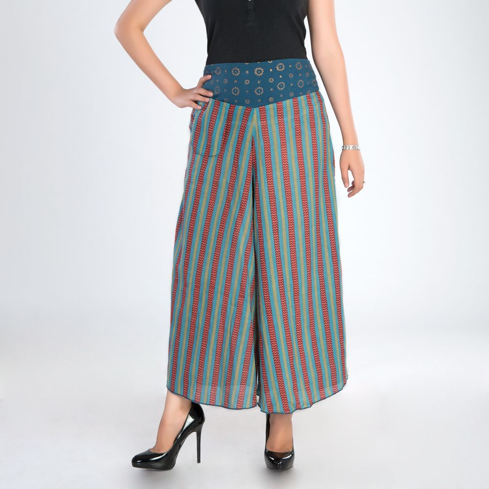 Stripes Cotton Palazzo Pants