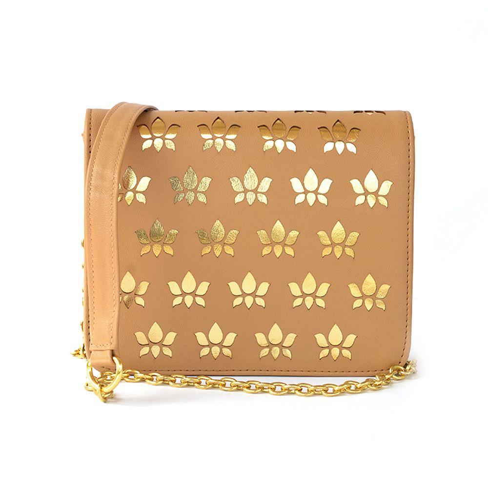 Tamara Gold Lotus Handbag