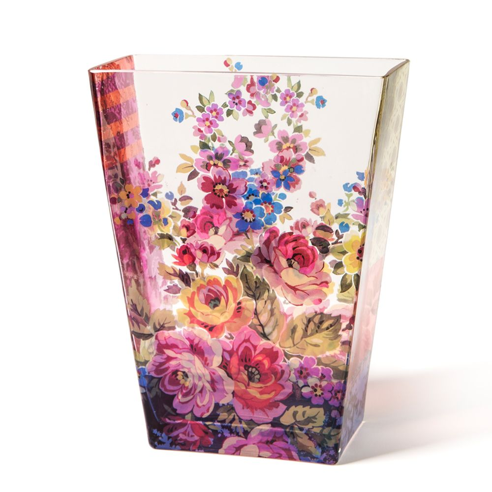 Tamara Painter's Rhapsody Of Flowers Glass Vase