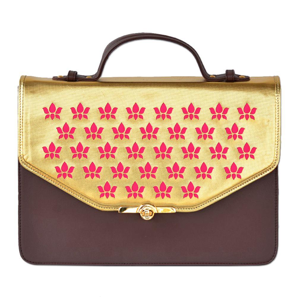 Tamara Pink Lotus Chocolate Gold Handbag
