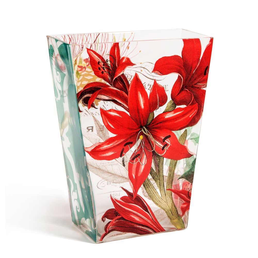 Tamara Scarlett Lilies Glass Vase