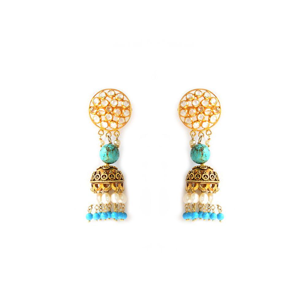 Tamara Turqoise Shower of Zircon and Pearl Jhumka Earrings