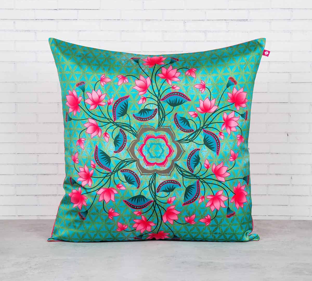 India Circus The Lotus Chronometer Blended Taf Silk Cushion Cover