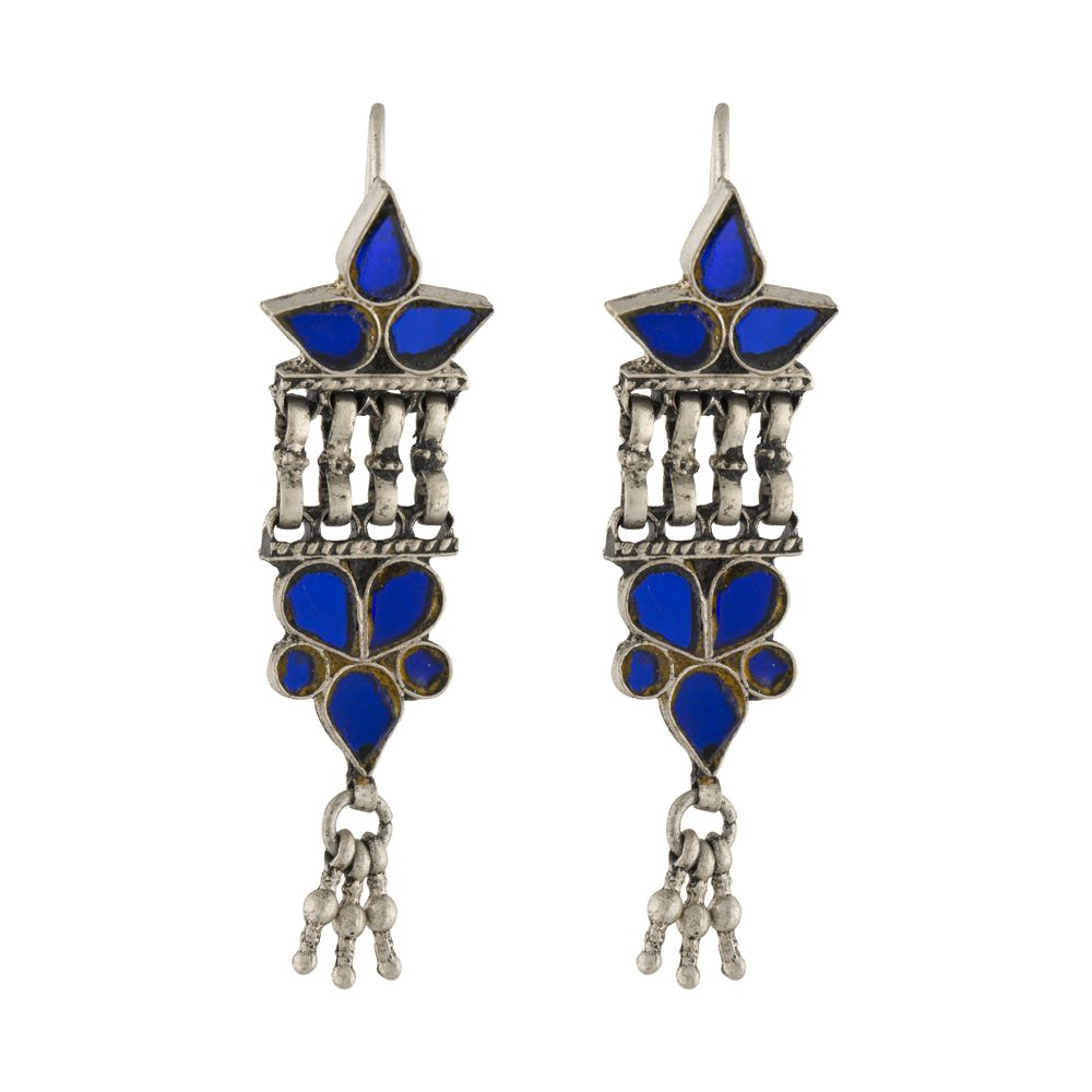 Tribal Blue Glass Silver Earrings