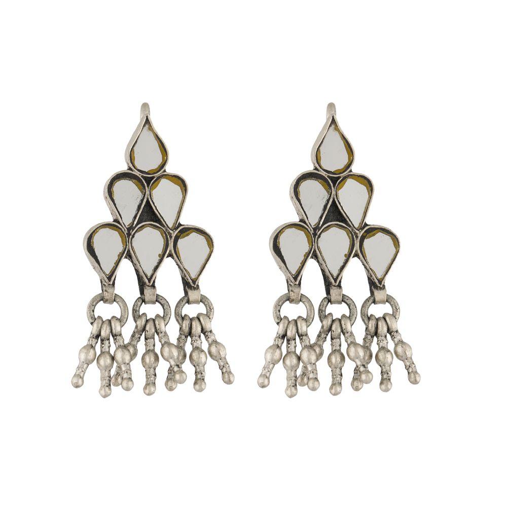 Tribal blue Glass Silver Earrings