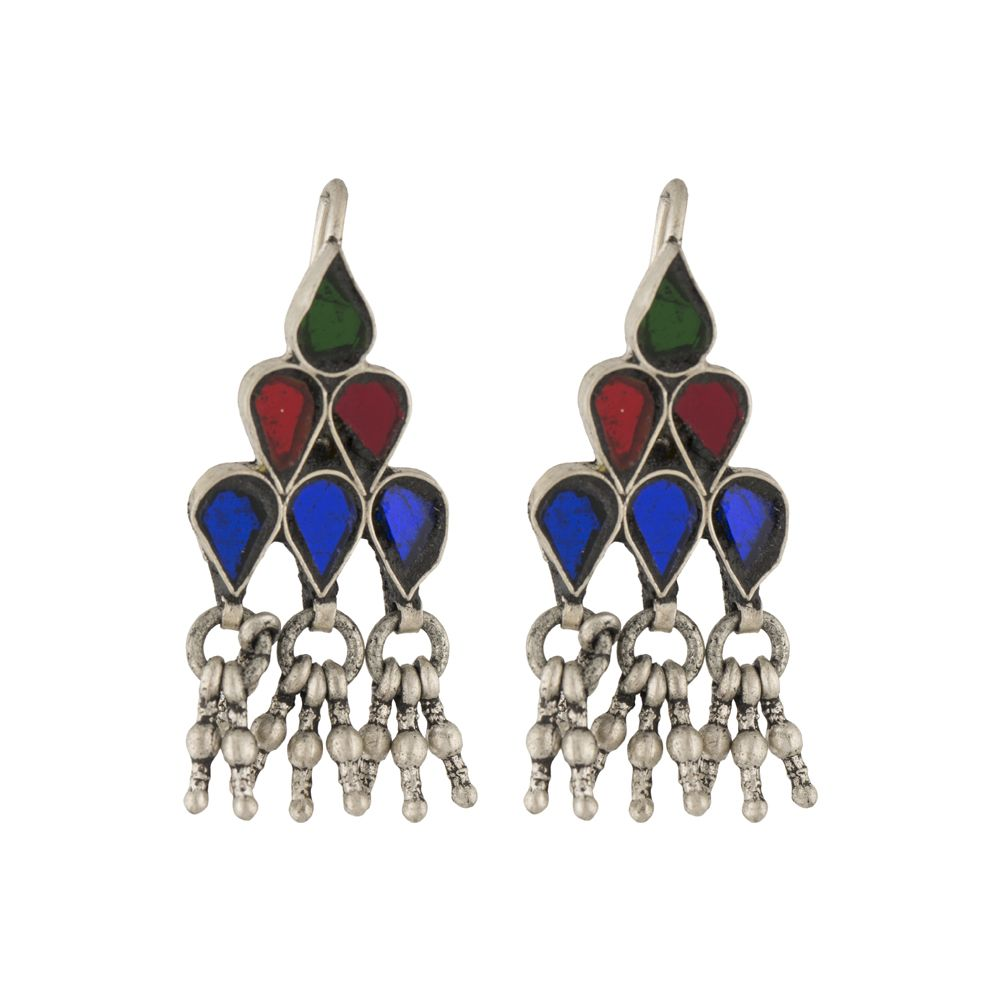 Tribal Glass Silver Earrings