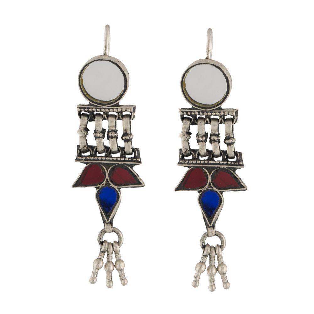 Tribal Multicolored Glass Silver Earrings