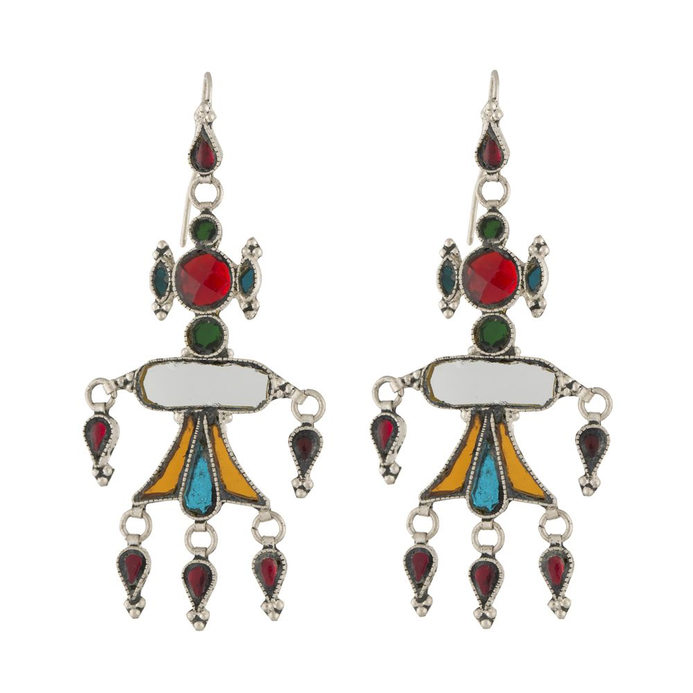 Tribal Multicolored Glass Silver Earrings