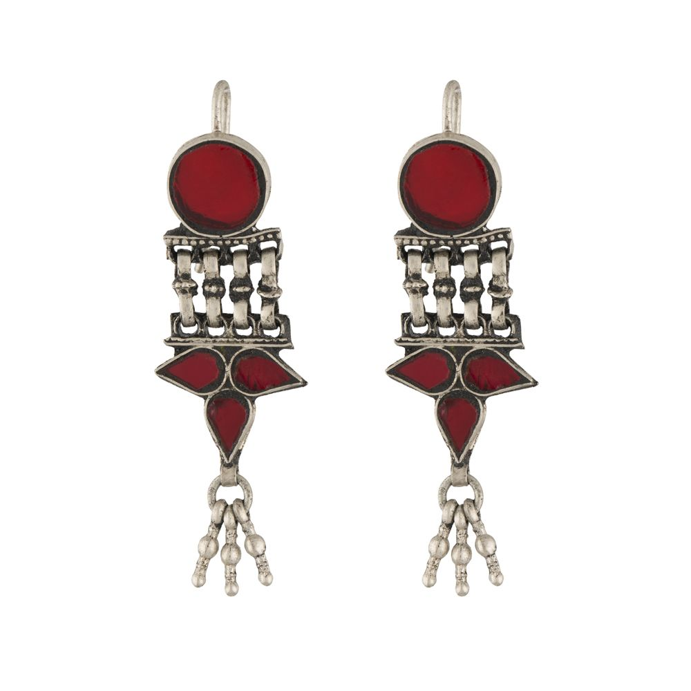 Tribal Red Glass Silver Earrings