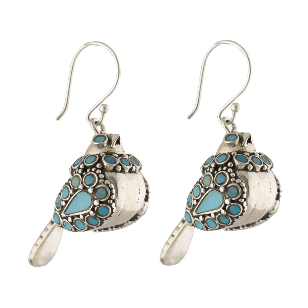 Turquoise Bird silver Earrings