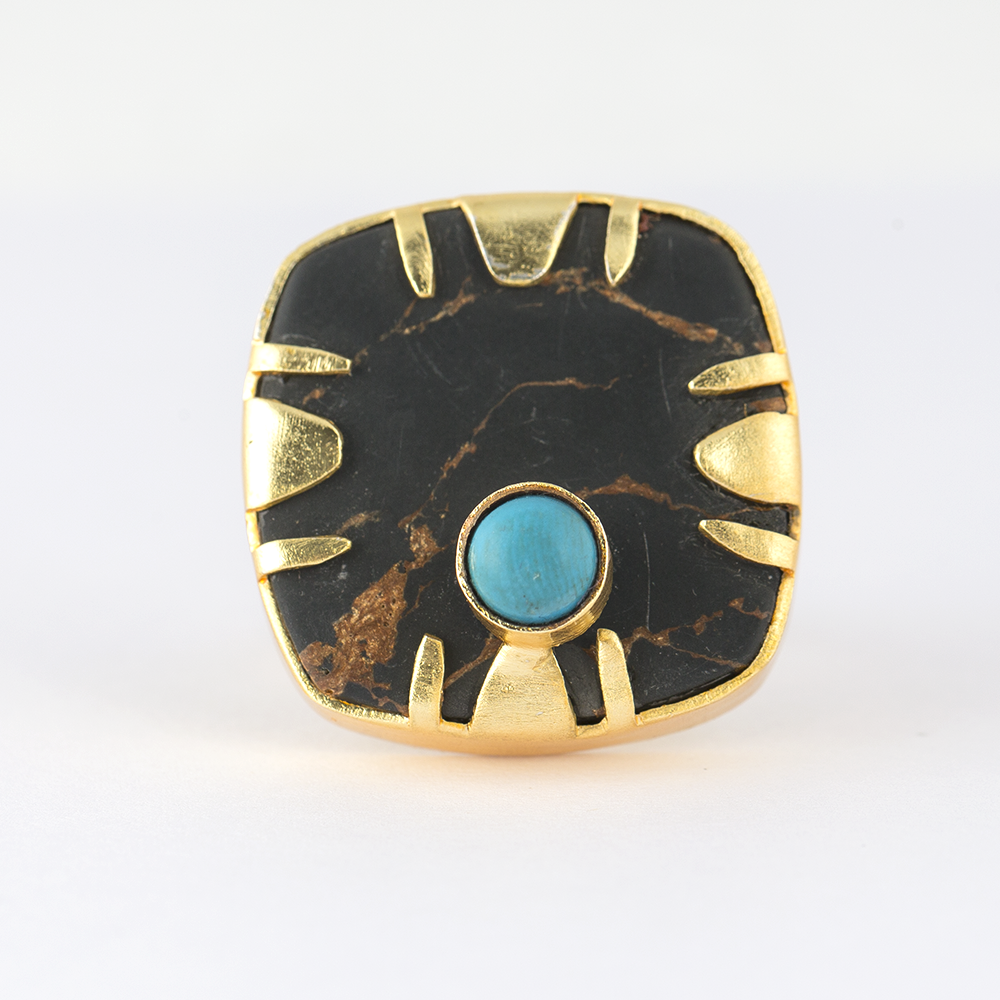 Turquoise Bead Brass Ring