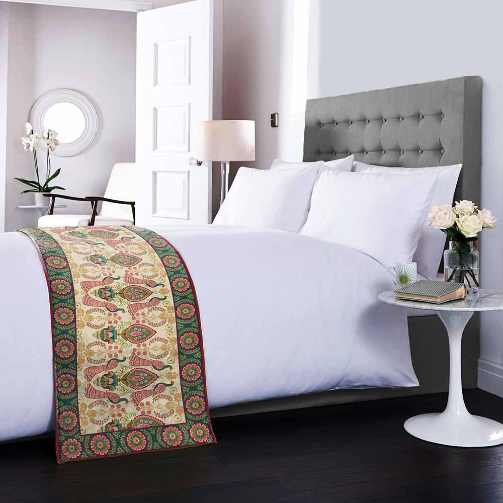 Twin Indian Peafowl Bed Runner