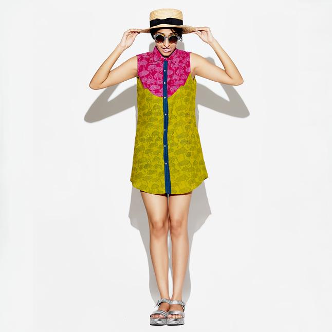 JODI Cotton Hand-blocked Cloud Print Patch Dress