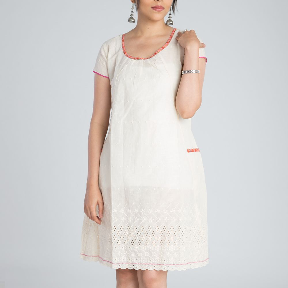 White Cutwork Cotton Dress