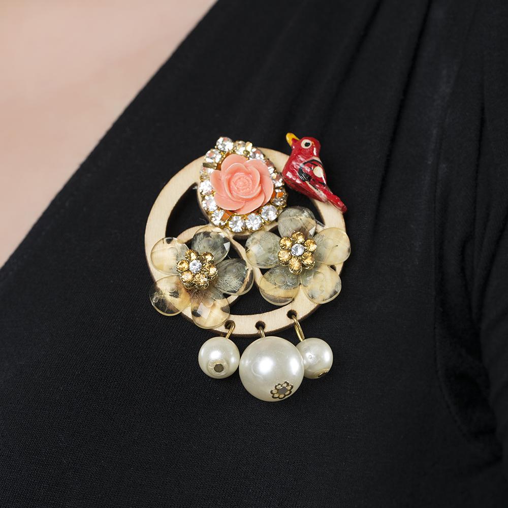 Flower & Pearl Brooch