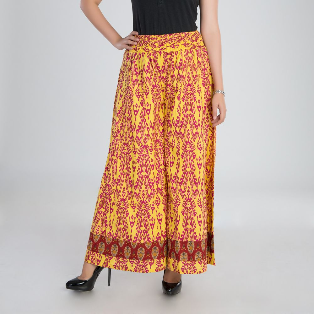 Yellow Cotton Palazzo Pants