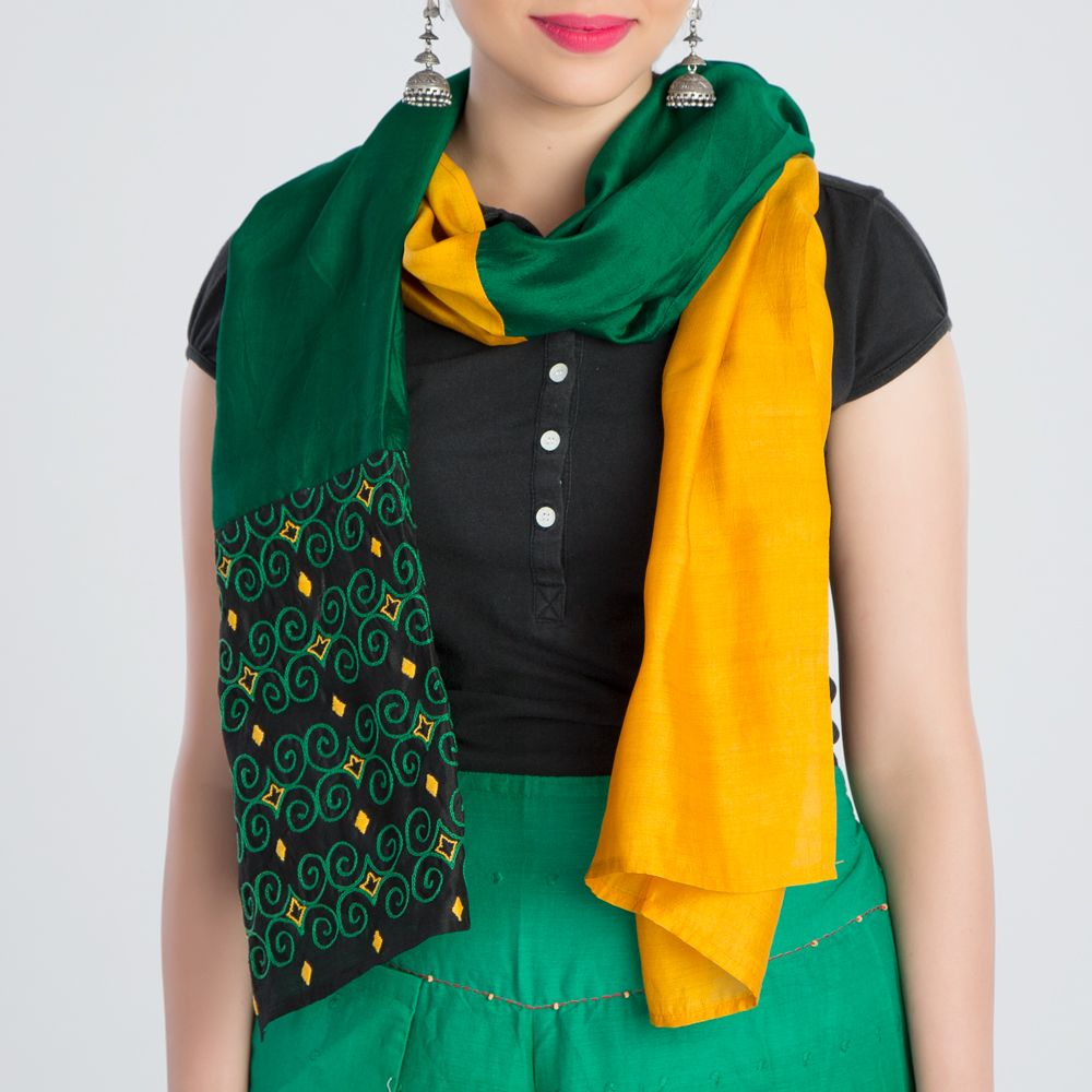 Yellow Green Embroidered Silk Stole