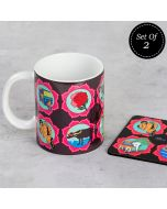 (2 Ceramic Mugs + 2 MDF Coasters) The Indian Influx Combo