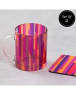 (2 Glass Mugs + 2 MDF Coasters) Life is a Blur Combo