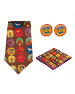 India Vibrant Fashion Ties-Pocket Squares-Cufflinks Gift Set