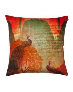 Sunset Peacocks Poly Velvet Cushion Cover