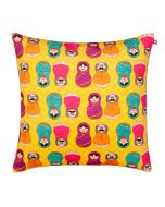 Desi Matryoshka Dolls Poly Velvet Cushion Cover