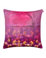 Pink and Blossoms Poly Velvet Cushion Cover