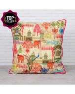 Mughal Treasures Satin Blend Cushion Cover