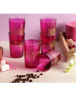 India Circus Lionheart Pink Moroccan Glasses Set of 6