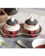 India Circus Floral Embroidery Ceramic Pickle Jar