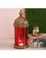 India Circus Red Minaret Candle Lantern