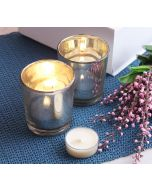 India Circus Silver Glass Votives Gift Box (Set of 2)
