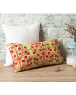 "India Circus Cream Mystical Pomegranate 16"" x 8"" Blended Velvet Cushion Cover"