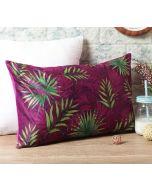 "India Circus Sangria Tropical Fall 20"" x 12"" Blended Velvet Cushion Cover"