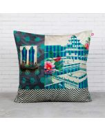 Aquamarine Echoes Blended Velvet Cushion Cover