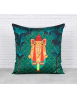 India Circus Ganeshas Riad Arch Blended Taf Silk Cushion Cover