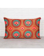 "India Circus Amber Platter Symmetry 20"" x 12"" Blended Taf Silk Cushion Cover"
