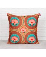 India Circus Amber Platter Symmetry Blended Taf Silk Cushion Cover