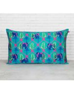 "India Circus Aqua Jungle Safari 20"" x 12"" Blended Taf Silk Cushion Cover"