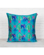 India Circus Aqua Jungle Safari Blended Taf Silk Cushion Cover