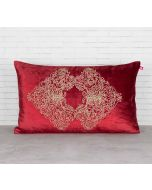 India Circus Bloom Integration Crimson Embroidered Velvet Cushion Cover