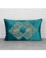 India Circus Bloom Integration Peacock Green Embroidered Velvet Cushion Cover