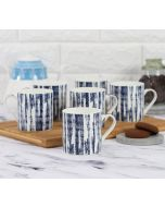 India Circus Blue Canvas Coffee Mug Set of 6
